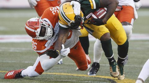 Reilly throws 3 touchdowns, runs in another as Eskimos beat Lions