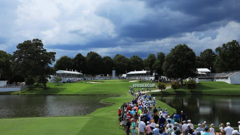Third-round play at East Lake halted for weather