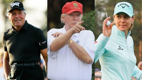 Trump hits links with Hall-of-Famers Player, Annika at Trump National