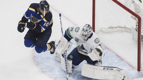 Horvat scores 2 as Vancouver Canucks beat Blues 5-2 in NHL playoff opener